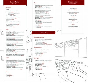 Cafe Menu : Lunch and Dinner