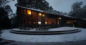 Lake St Clair Visitor Centre covered in snow