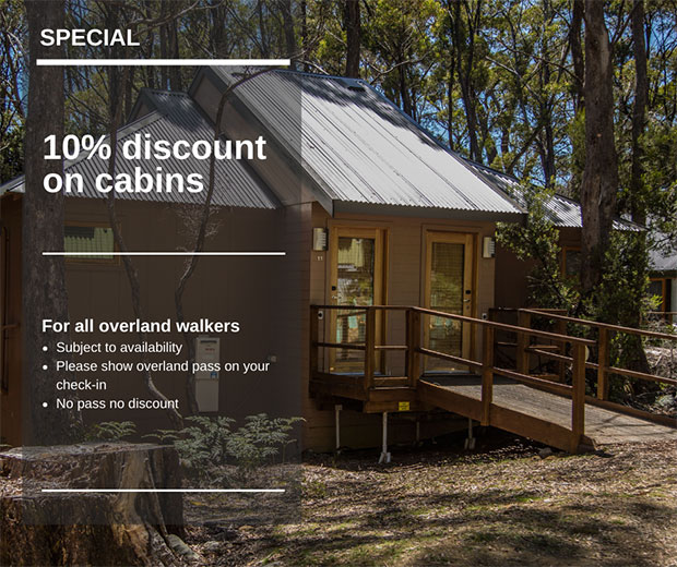 10% discount on cabins for overland walkers